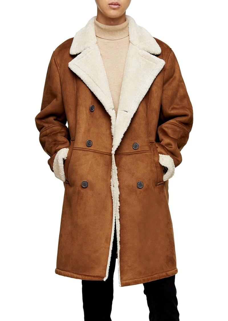 Topman Classic Fit Longline Faux Shearling Coat