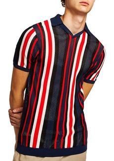 Topman Classic Fit Mesh Striped Polo