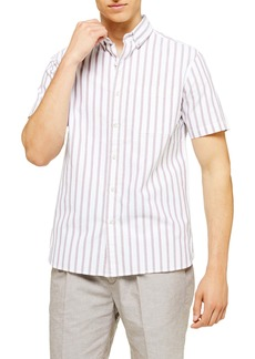 Topman Slim Fit Oxford Stripe Short Sleeve Button-Down Shirt