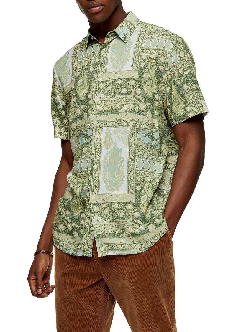 Topman Classic Fit Paisley Short Sleeve Button-Up Shirt