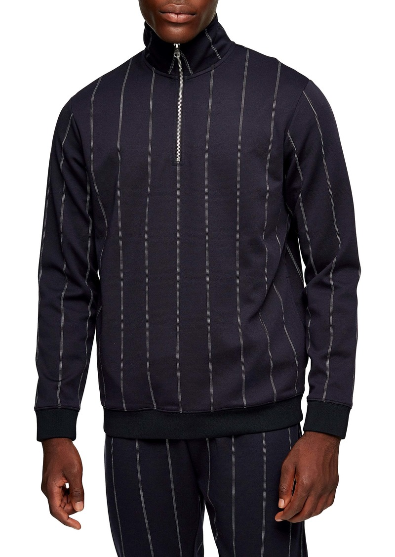 Topman Classic Fit Pinstripe Quarter Zip Pullover