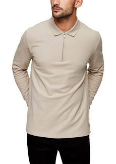 Topman Classic Fit Quarter Zip Long Sleeve Cotton Piqué Polo