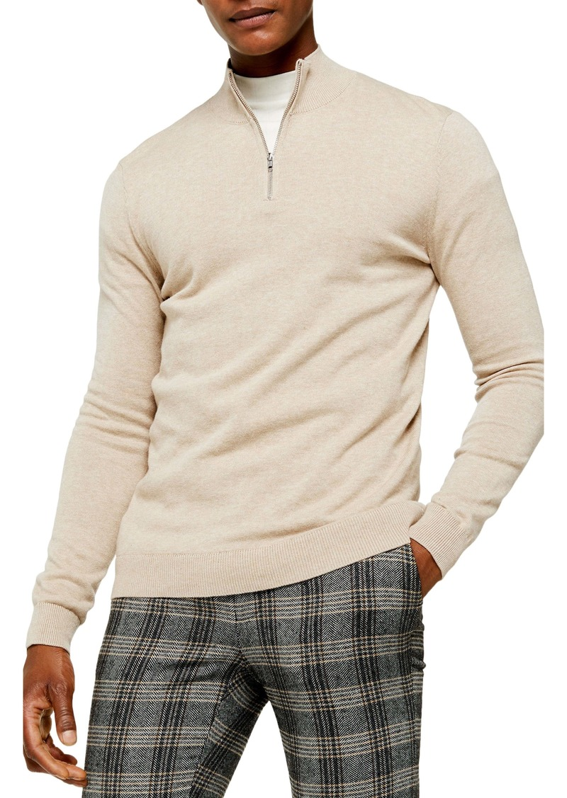 Topman Classic Fit Quarter-Zip Mock Neck Sweater