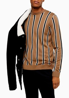 Topman Classic Fit Stripe Crewneck Sweater