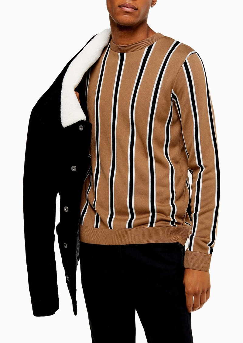 Topman Classic Fit Stripe Crewneck Sweater