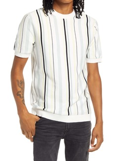 Topman Classic Fit Stripe Short Sleeve Sweater