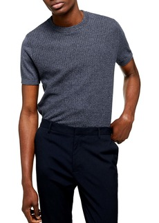 Topman Classic Fit Texture Stitch Short Sleeve Sweater