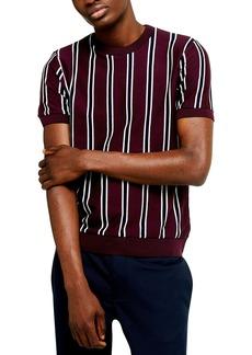 Topman Classic Fit Vertical Stripe Short Sleeve Sweater