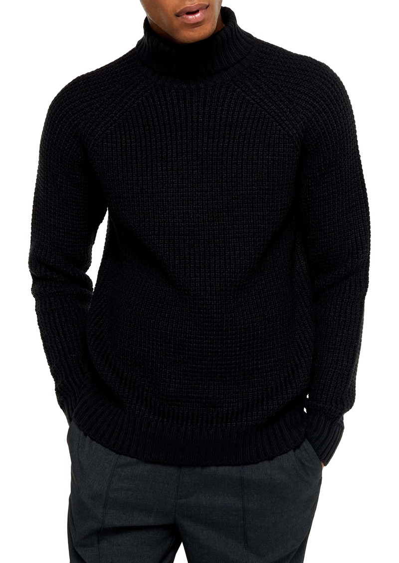 Topman Classic Fit Waffle Turtleneck Sweater