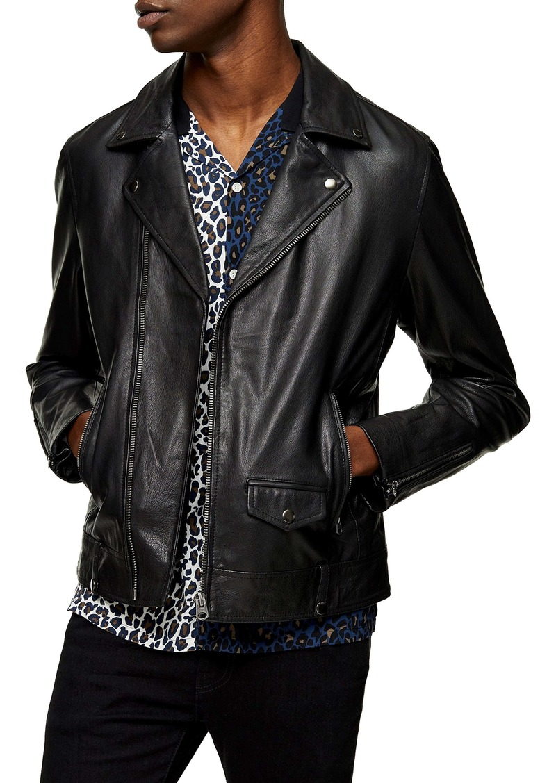 Topman Classic Leather Biker Jacket
