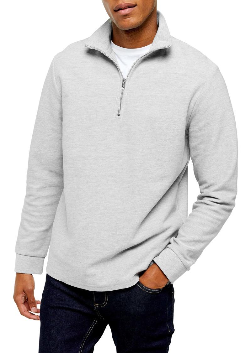 Topman Classic Quarter Zip Twill Knit Sweatshirt