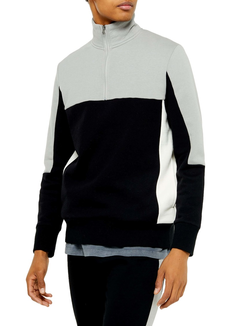 Topman Colorblock Quarter Zip Pullover