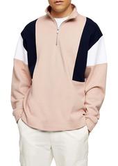 Topman Colorblock Quarter Zip Sweatshirt