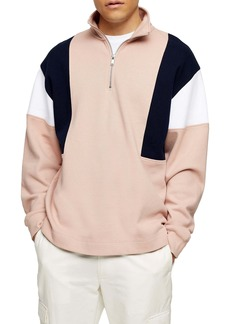 Topman Colorblock Quarter Zip Sweatshirt