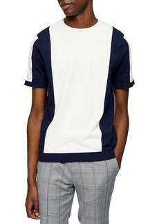 Topman Colorblock Short Sleeve Crewneck Sweater