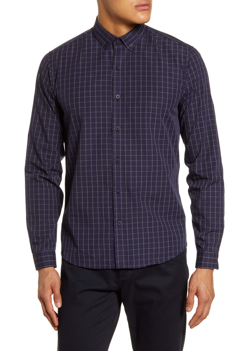 Topman Concealed Grid Check Button-Down Shirt