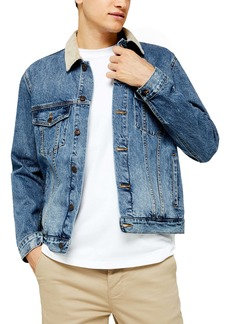 Topman Corduroy Collar Classic Fit Denim Jacket