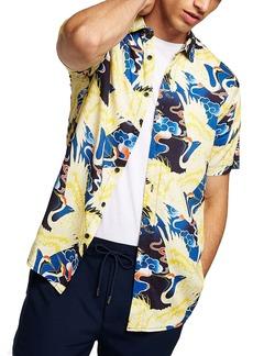 Topman Crane Print Woven Shirt (Men)