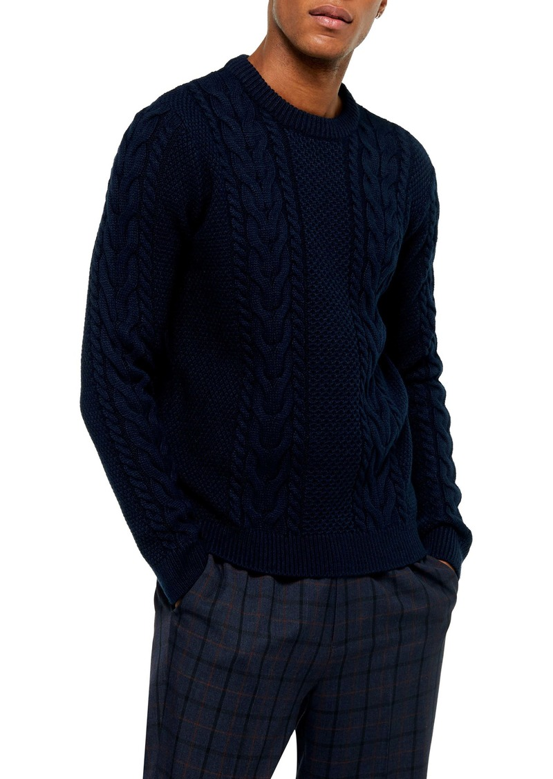 Topman Crewneck Cable Knit Sweater