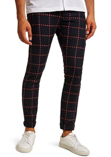 Topman Crisscross Check Stretch Skinny Fit Trousers