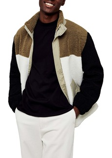 Topman Cut & Sew Colorblock Fleece Jacket