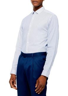 Topman Cut & Sew Stripe Slim Fit Button-Up Shirt