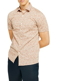 Topman Ditsy Floral Stretch Button-Up Shirt