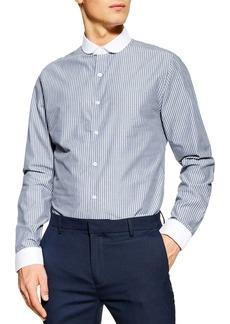 Topman Stretch Skinny Fit Dobby Stripe Shirt