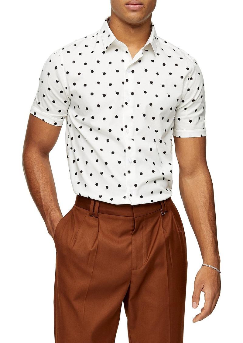 Topman Double Dot Short Sleeve Button-Up Shirt