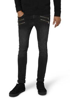 Topman Double Zip Spray-On Jeans