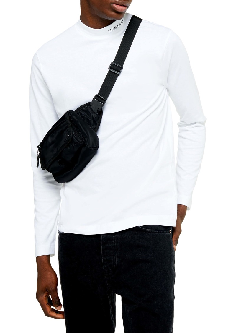 Topman Embroidered Mock Neck Sweater