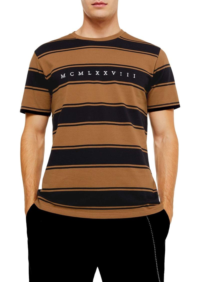 Topman Embroidered Stripe Piqué Crewneck T-Shirt