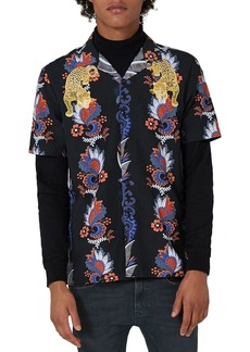 Topman Embroidered Tiger Print Revere Collar Shirt