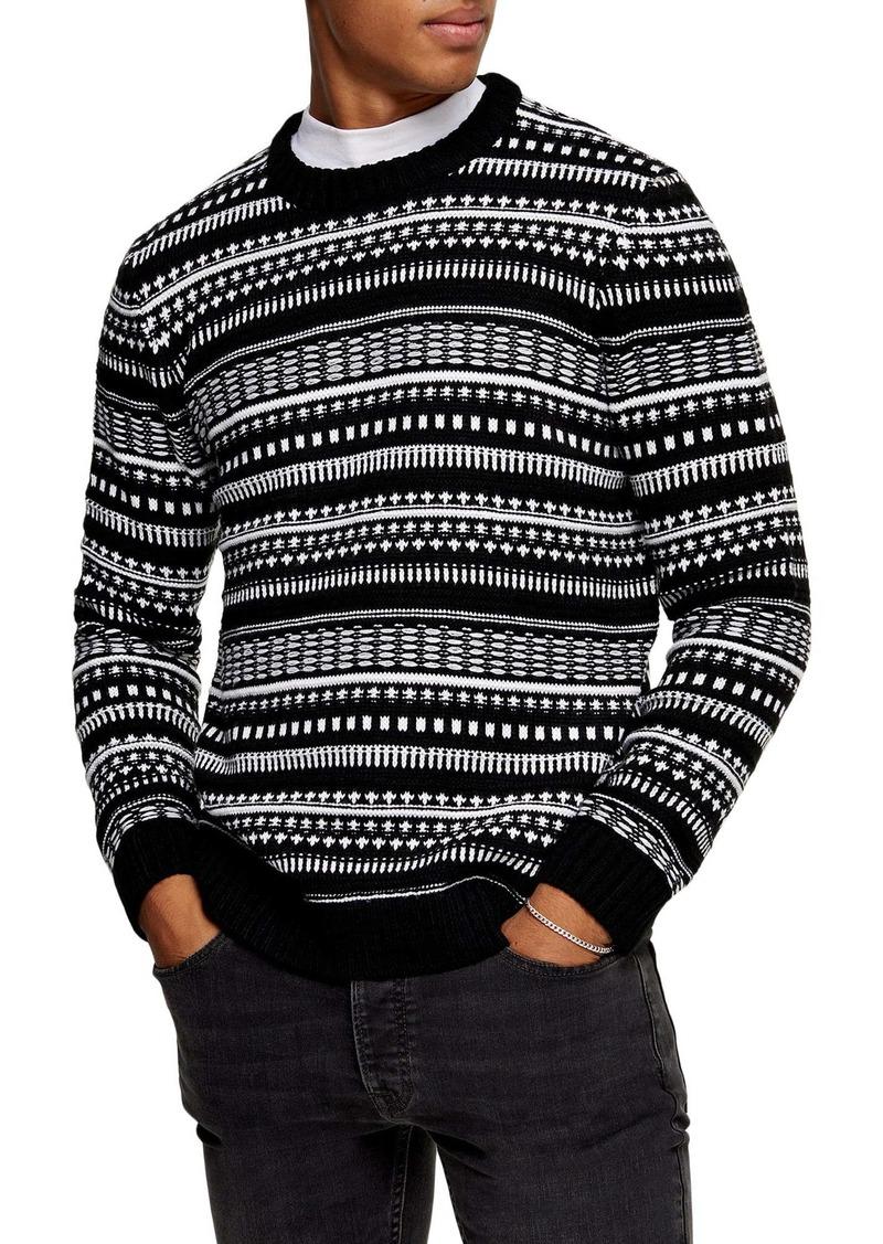 Topman Fair Isle Crewneck Sweater