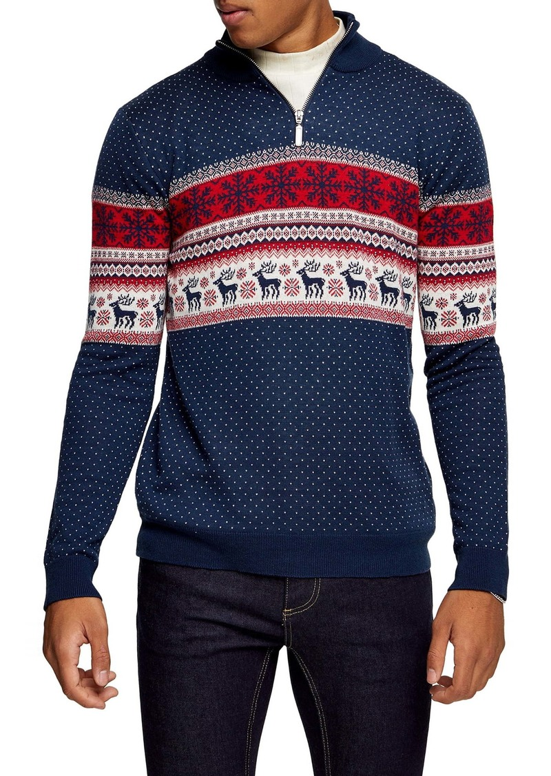 Topman Fair Isle Quarter Zip Sweater