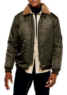 Topman Faux Fur Borg Collar Nylon Jacket