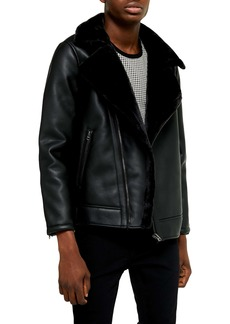 Topman Faux Shearling Trim Faux Leather Biker Jacket