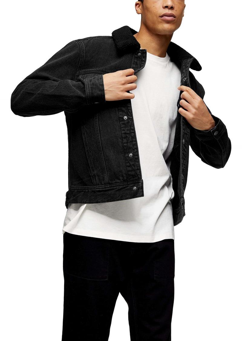 Topman Faux Shearling Trim Trucker Jacket