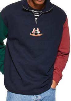 Topman Flag Panel Quarter Zip Pullover