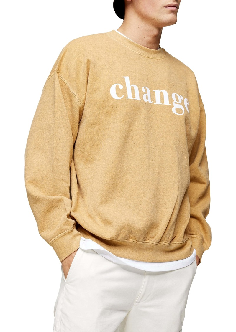 Topman Flocked Change Oversize Crewneck Sweatshirt
