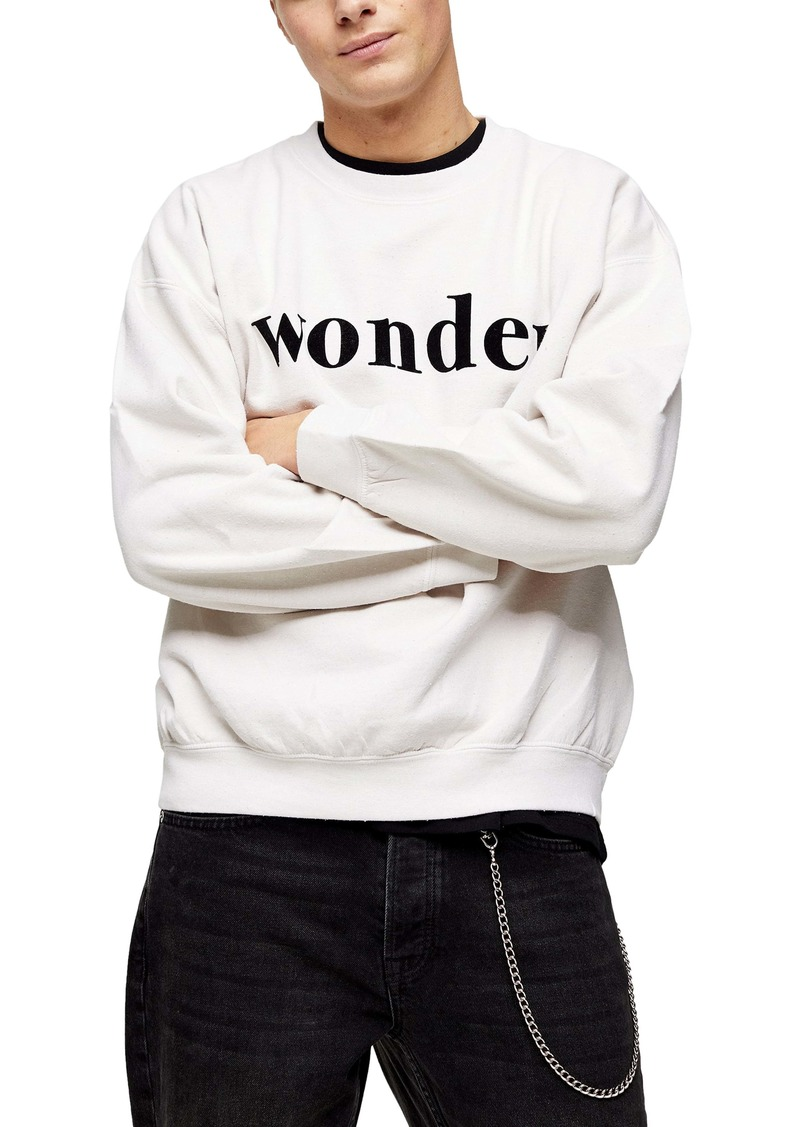 Topman Flocked Wonder Oversize Crewneck Sweatshirt
