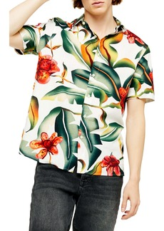 Topman Floral Oversize Short Sleeve Button-Up Shirt