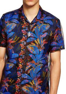 Topman Floral Print & Mesh Classic Fit Shirt