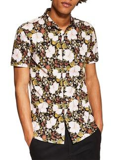 Topman Stretch Skinny Fit Floral Shirt
