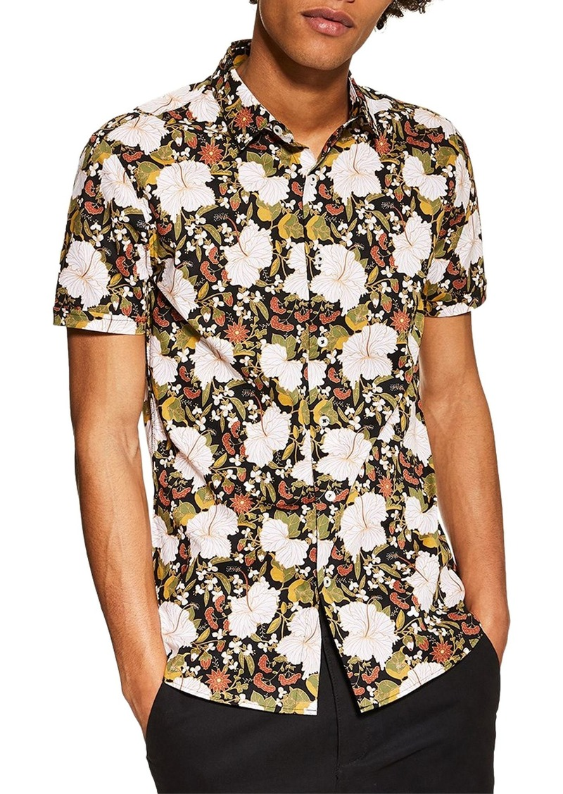 Topman Stretch Skinny Fit Floral Sport Shirt