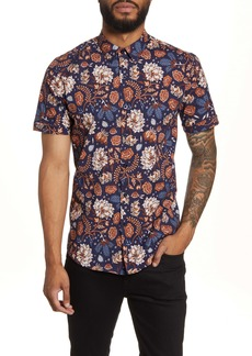 Topman Floral Short Sleeve Button-Up Shirt