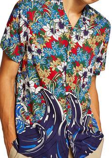 Topman Floral Wave Camp Shirt
