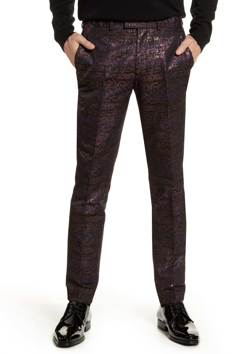 Topman Gascon Skinny Fit Metallic Jacquard Pants