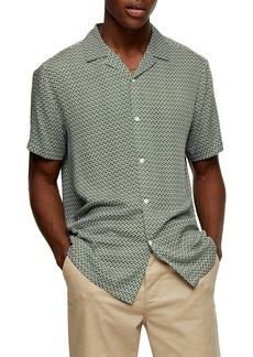 Topman Geo Print Short Sleeve Button-Up Camp Shirt