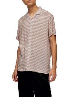 Topman Geometric Print Revere Shirt